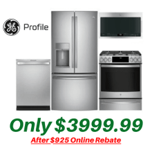 GE Profile Kitchen Suite with New Air Fry Convection Slide-in Gas Stove and New Non-Fingerprint Stainless Steel Counter Depth Refrigerator
