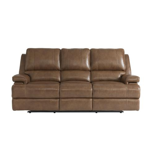 Parsons Umber Leather Power Reclining Sofa with Power Tilt Headrests