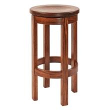 BARREL SHAPED WOOD SEAT BAR STOOL