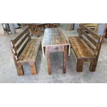 Locally Made Drop Leaf Barnwood Table With Storage  And Benches