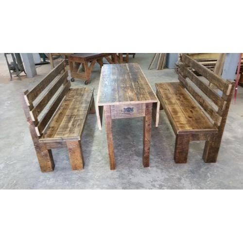 Cozy Creations Collection - Locally Made Drop Leaf Barnwood Table With Storage  And Benches