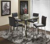 SQUARE Counter height dining table with counter height chrome & black chairs