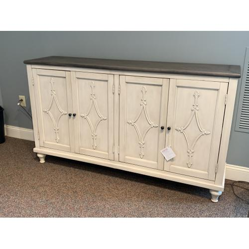 Cream Colored Four Door Media Credenza