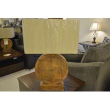 Ashley Furniture round wooden table lamp.