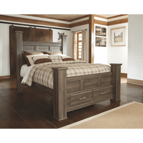Juararo- Dark Brown- Queen Poster Bed with 2 Storage Drawers