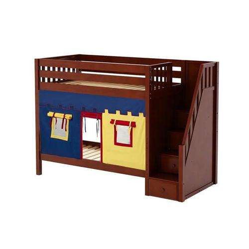 Maxtrix - High Bunk Bed with Staircase on End & Curtain In Chestnut Finish