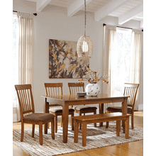 Berringer - Rustic Brown - 6 Pc. - Rectangular  Table, 4 Upholstered Side Chairs & Large Bench