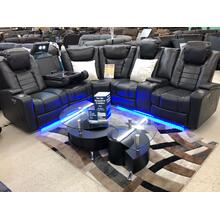 PFC Furniture U1869 Gray Double Power Motion Sectional Sofa with LED Lights