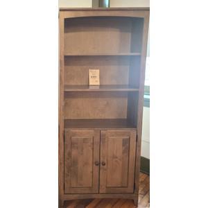 Archbold Furniture - Alder Bookcase 30 X 72 with Doors - Driftwood