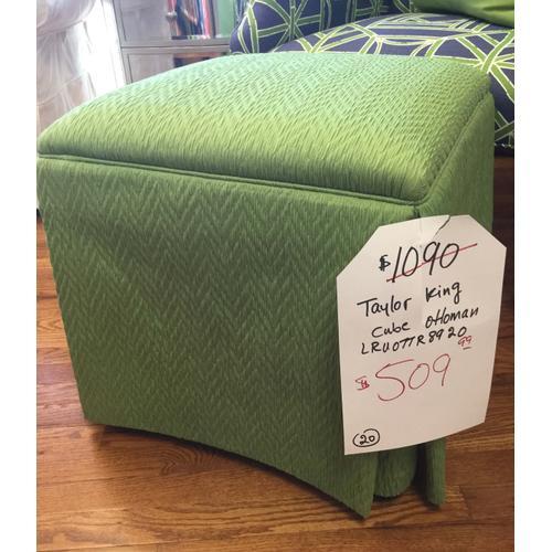 Taylor King - Green Cube Ottoman