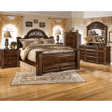 Gabriela- Dark Reddish Brown- Dresser, Mirror, Chest, Nightstand & Queen Poster Bed with Footboard Storage