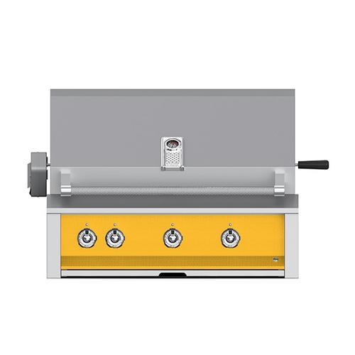 """Aspire By Hestan 36"""" Built-In U-Burner, Sear and Rotisserie Grill NG Yellow"""