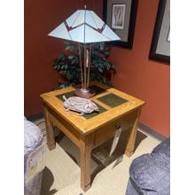 Square Lamp Table - Light Oak/ Slate Finish    (P468-02,58034)