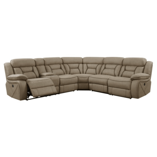 Modern Sectional - 3 x Power Recliners with USB Ports, and Armless Chair (TAN)