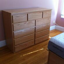 Contemporary Style 11 Drawer Dresser in Oak