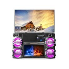 10000 Watt LED Home Theater System TV Stand w/ Fireplace
