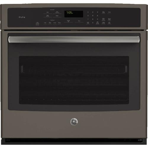 "GE Profile 5.0CF Slate 30"" Electric Convection Wall Oven with Steam/Self Clean"