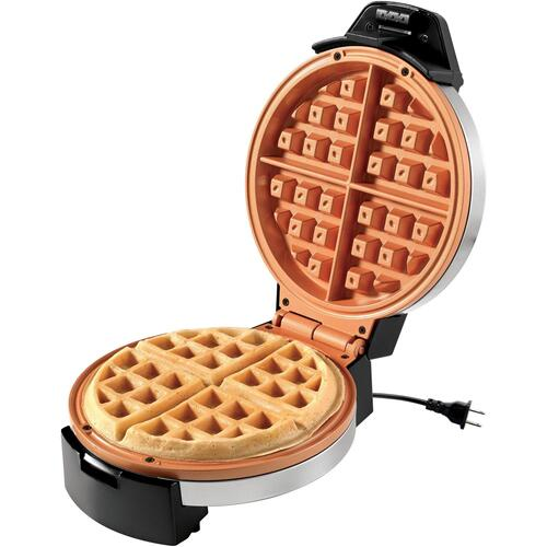 "Starfrit 24705 EcoCopper 7"" Electric Waffle Maker, Black/Stainless Steel"