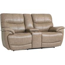 See Details - Brookville Motion Loveseat w/ Power & Console in Mushroom