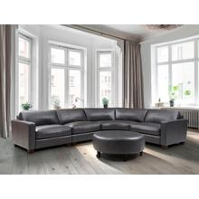 See Details - Brent 4-Piece Charcoal Leather Sectional