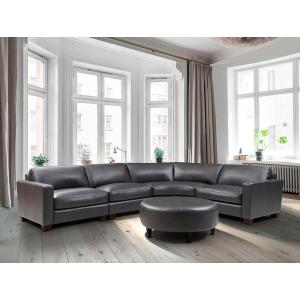 Leather Italia USA - Brent 4-Piece Charcoal Leather Sectional