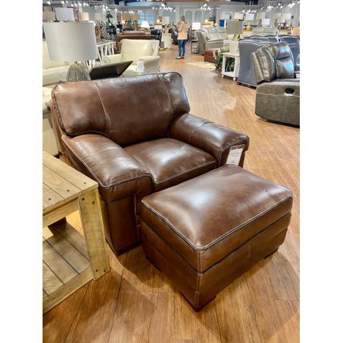 Simon Li Furniture - Stallion Thistle Leather Chair & Ottoman