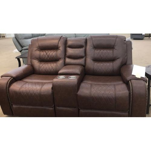 Klaussner - Klaussner Home Furnishings Hubble Console Loveseat - Mika Brown