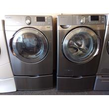 Refurbished  Silver STEAM Samsung Front Load Washer Dryer Set  On Pedestals.Please call store if you would like additional pictures. This set carries our 6 month warranty, MANUFACTURER WARRANTY AND REBATES ARE NOT VALID (Sold only as a set)
