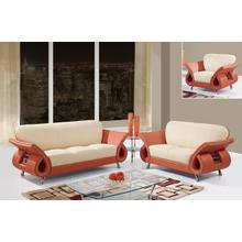 Orange/Beige Leather/Match - Loveseat