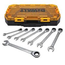 See Details - DEWALT 8 PIECE FULL POLISH RATCHETING COMBINATION METRIC WRENCH SET