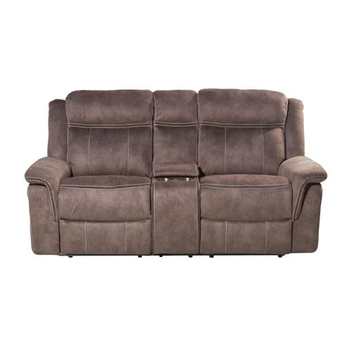 Kisner Lorenzo Brown Reclining Loveseat with Console