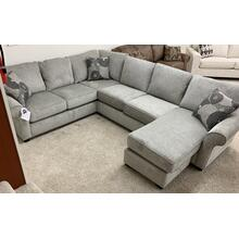 Stanton 464 Sectional in Lux Linen w/Makena Shale Pillows and Espresso Legs.  100%yester . CC:  WS