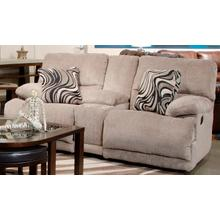 Jules Reclining Console Loveseat with Storage and Cupholders in Pewter Chenille Fabric