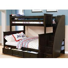 Belfort - Twin over Full Bunk Bed with Stairs and Waterford Trundle - Graphite Grey