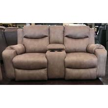 Power Tan Loveseat With Console