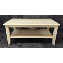 Maine Made Cocktail Table with Shelf 42W X 18H X 24D Pine Unfinished