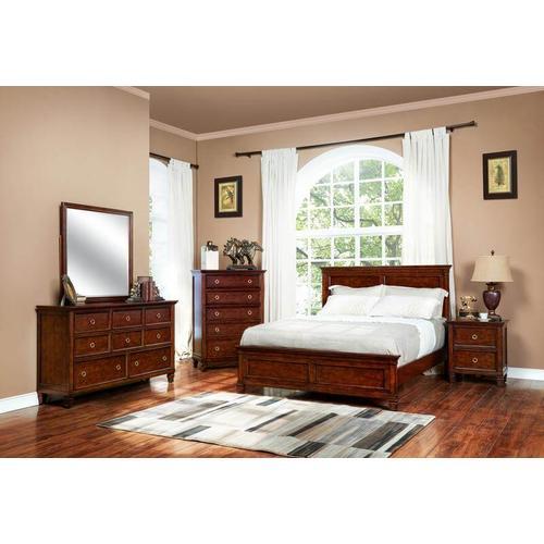 Taramack Cherry Full Size Bedroom Set: Full Bed, Nightstand, Dresser & Mirror