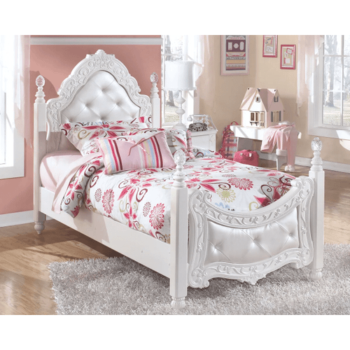 Exquisite- White- Twin Poster Bed