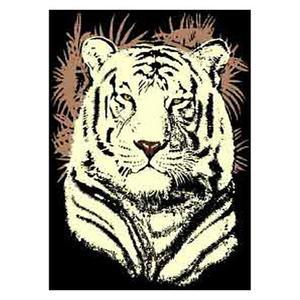 Medium - Adventures White Tiger Head 5x8 Rug