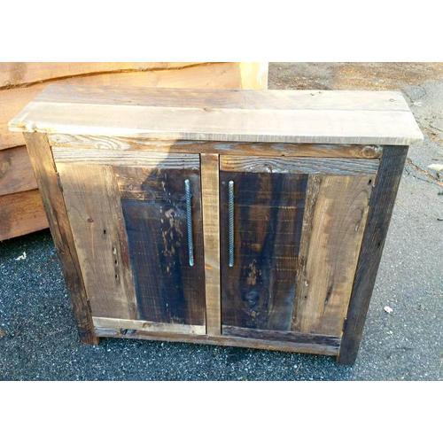 Barn Board Side Board with Industrial Handles