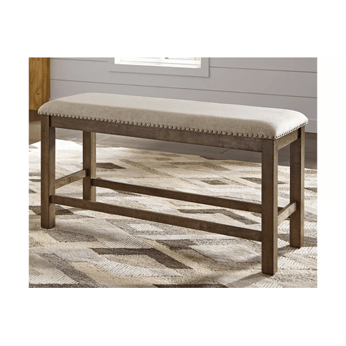 Moriville - Gray - 6 Pc. - Rectangular Counter Extension Table, 4 Upholstered Barstools & Double Upholstered Bench
