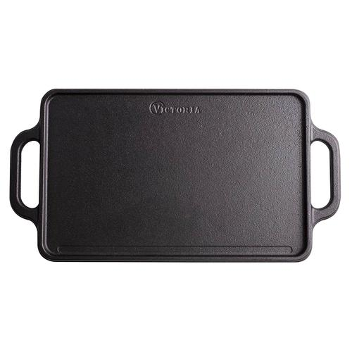Victoria Rectangular Griddle, Medium Reversible Cast Iron, 13 x 8.5 inch, Seasoned, Original GDL-189, 100% NON-GMO Flaxseed Oil Seasoning