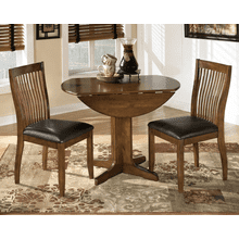 Stuman - Medium Brown - 3 Pc. - Round Drop Leaf Table & 2 Side Chairs