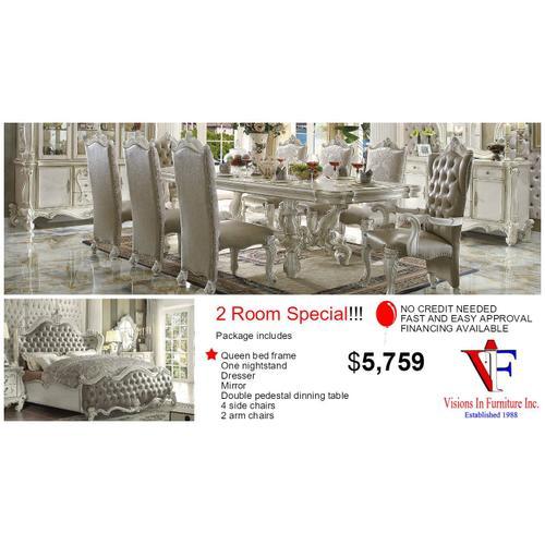 Packages - 2 room Includes, queen bed, nightstand, dresser mirror,  double pedestal table 4 side chairs 2 arm chairs