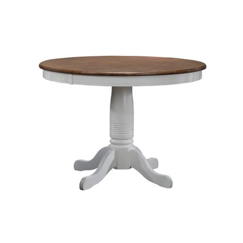 "42"" Round Table, Rustic Brown/White"