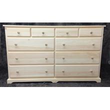 "Maine Made 10 Drawer Dresser 60""W x 36""H x 18""D Pine Unfinished"