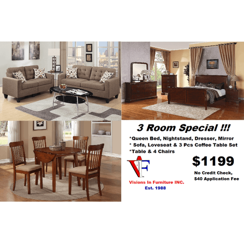 Packages - 3 room special includes queen bed, nightstand dresser, mirror, sofa, love seat, 3 pc coffee table set, table and table w/ 4 chairs