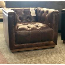 Softline 100% Leather Swivel Chair in Chestnut