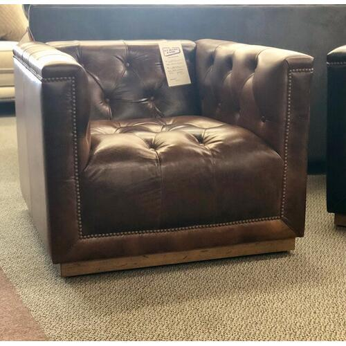 Softline 100% Leather Swivel Chair in Chestnut