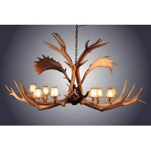 REAL 8 Light Elk / Fallow Elongated Antler Chandelier